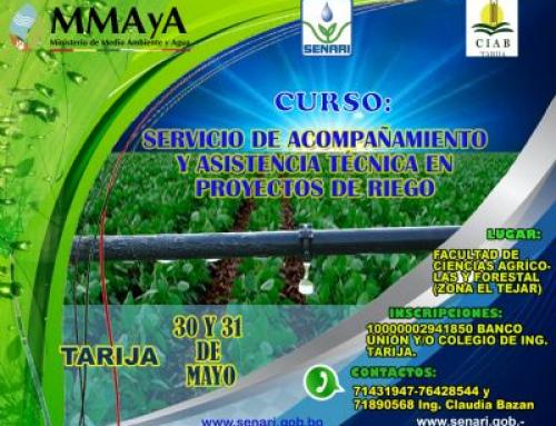 """CURSO TALLER """"SERVICIO DE ACOMPAÑAMIENTO Y ASISTENCIA TÉCNICA EN PROYECTOS DE RIEGO"""""""