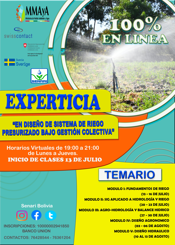 """CURSO EN LÍNEA 🔴 """"EXPERTICIA EN DISEÑO DE SISTEMA DE RIEGO PRESURIZADO BAJO GESTIÓN COLECTIVA"""""""