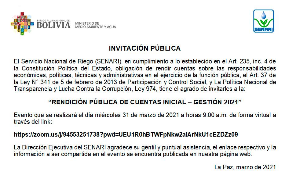 Rendición Pública de Cuentas Inicial Gestión 2021